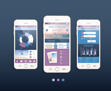 Mobile ui kit. Vector design in trendy color with  mobile phones, interface elements. Vector
