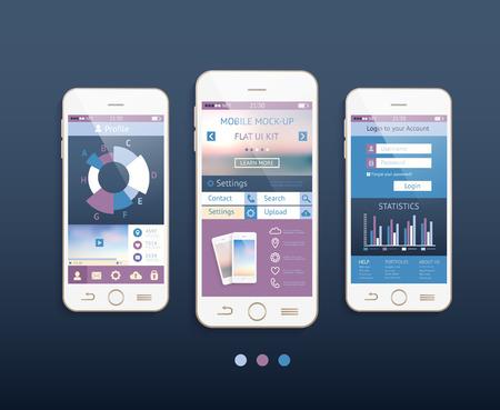 Mobile ui kit. Vector design in trendy kleuren met mobiele telefoons, interface-elementen.