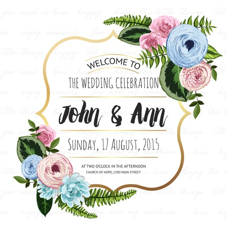 Wedding invitation card with painted flowers and plants on seamless lettering background. Gold frame, cute design