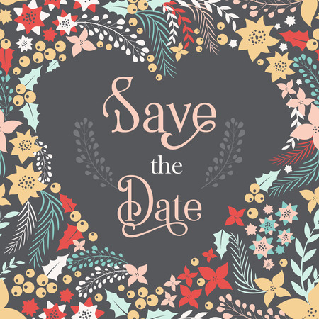 dinner date: Save the date phrase on heart frame with cute flowers. Vector illustration for your design