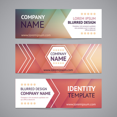 web design banner: Vector company banners with blurred backgrounds. Identity templates