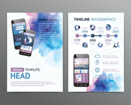 Abstract vectorbrochuremalplaatje met waterverfachtergronden. Flyer lay-out. Vlakke stijl. Infographic elementen.