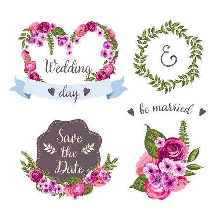 Wedding collection with hand-drawn flowers Illustration