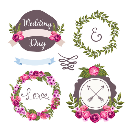 Wedding collection with hand-drawn flowers Vector