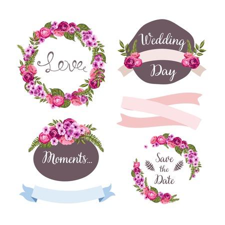Bruiloft collectie met de hand getekende bloemen Stock Illustratie