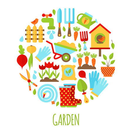 Illustratie van tuinieren iconen set