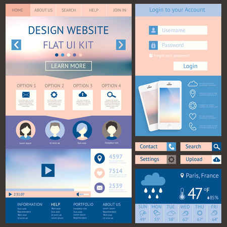 One page website design template, flat ui kit. All in one set fo
