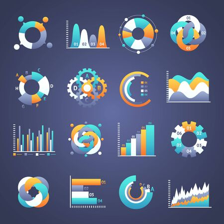 chart graph: Set of  infographics charts and diagrams for your design