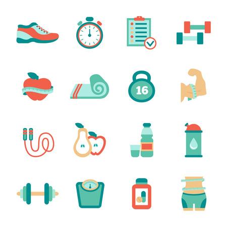 Set van fitness vlakke pictogrammen. Vector illustratie