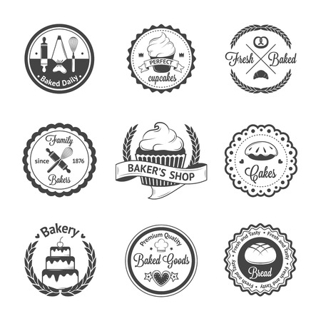 pastries: Vintage bakery badges, labels and logos