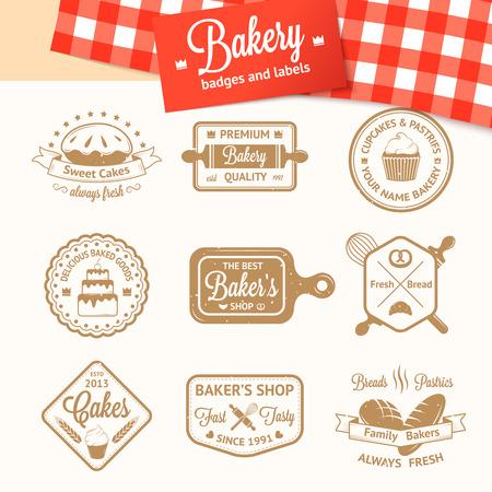 logo de comida: Insignias de panadería del vintage, etiquetas y logos Vectores