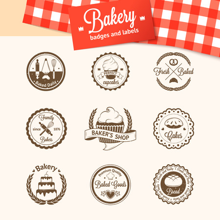 Vintage bakery badges, labels and icon Vector