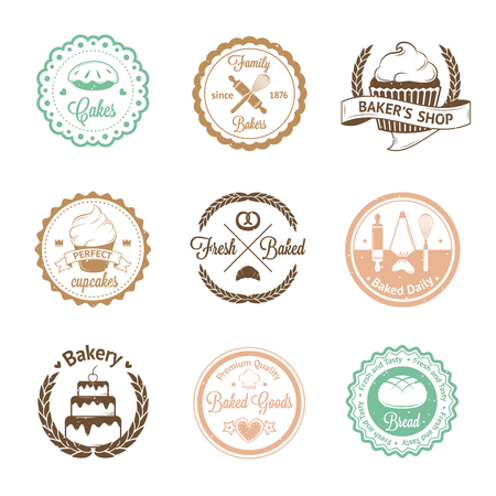 bakery oven: Vintage bakery badges, labels and logos