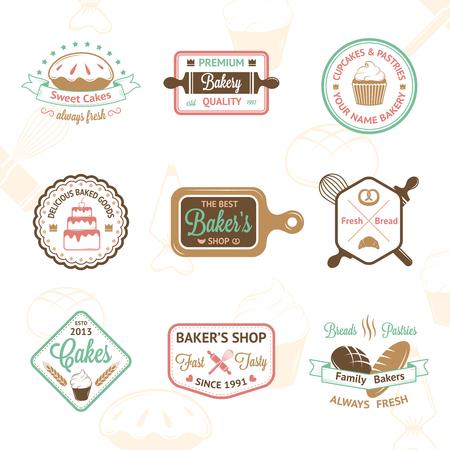 Vintage bakkerij badges, labels en het pictogram