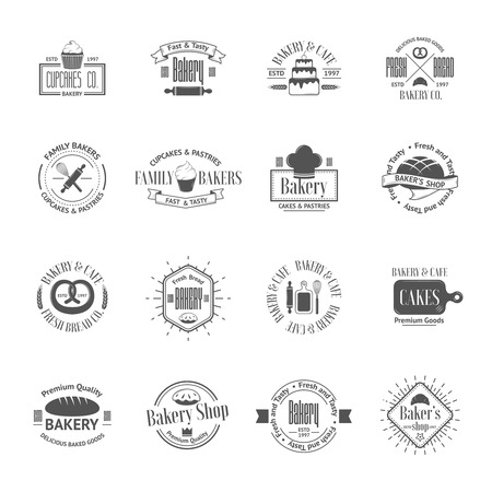 bakery products: Vintage bakery badges, labels and logos