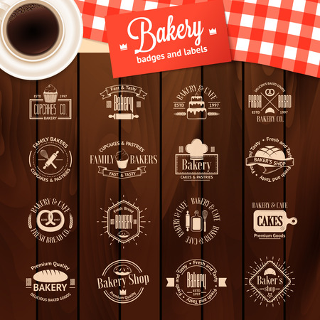 fresh bakery: Vintage bakery badges, labels and logos