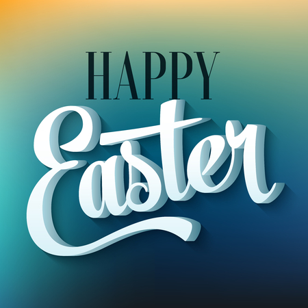 easter background: Happy easter typography on blur background Illustration