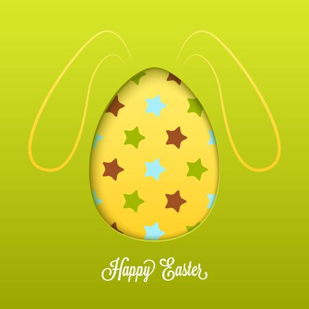 cut line: Happy Easter card with cut egg and line rabbit ears
