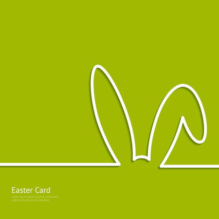 Easter background with silhouette line rabbit