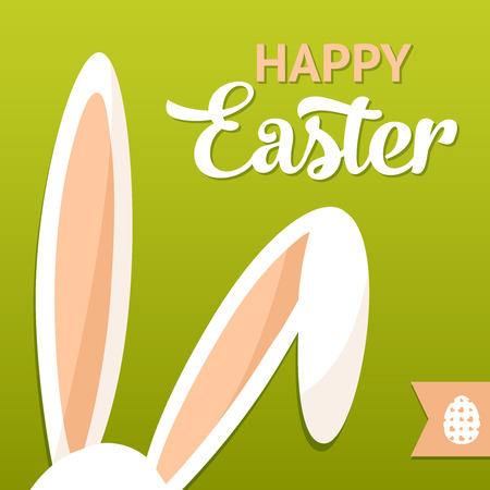 Tarjeta de Pascua feliz con orejas de conejo