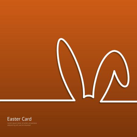 Pasen achtergrond met silhouet lijn konijn