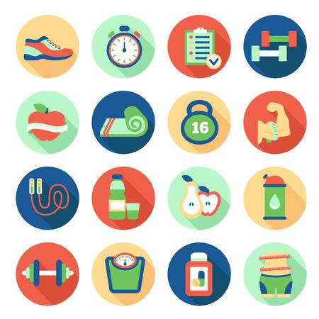Set van fitness vlakke pictogrammen. vector illustratie Stock Illustratie