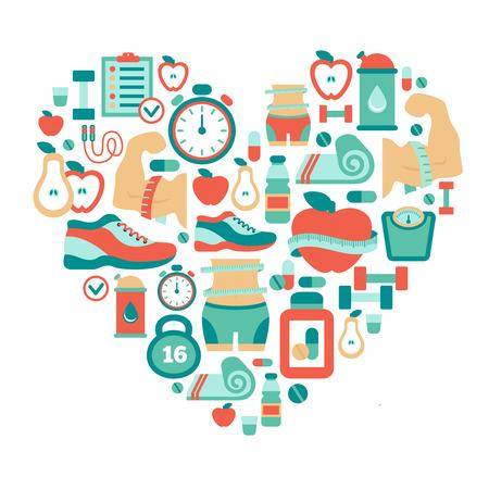 Simbolo del cuore con le icone piane di fitness Archivio Fotografico - 37720931
