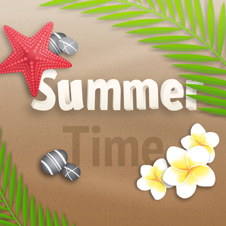Summer Time Background with flowers and stones