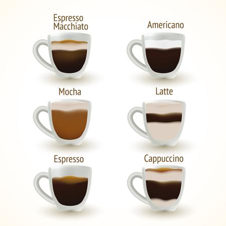 Coffee types Vectores