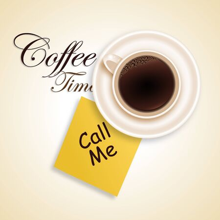 call me: Coffee time background with sticker and cup Illustration