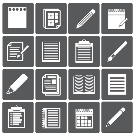 folio: Set of paper documents and pencils icons