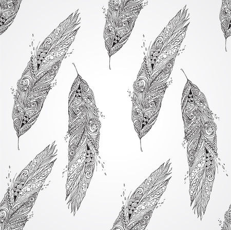 Seamless monochrome pattern with feathers Illustration