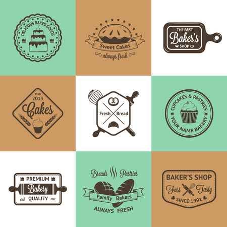 fresh bakery: Vintage bakery badges, labels and icons Illustration