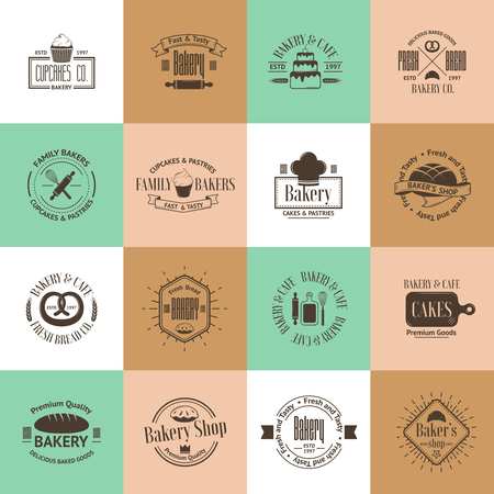 traditional goods: Vintage bakery badges, labels and logos