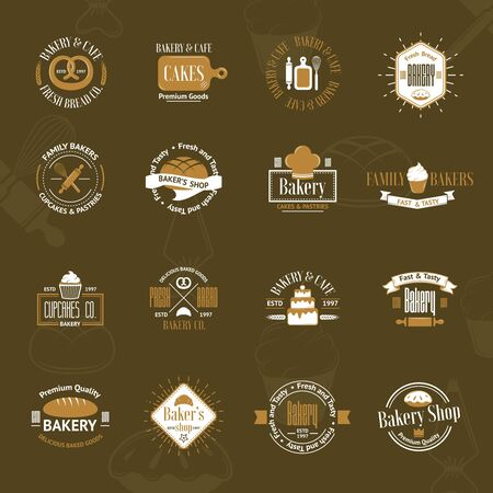 Vintage bakery badges, labels and logos Vector
