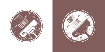 dirty carpet: Cleaning Service Vector Vintage icons Illustration