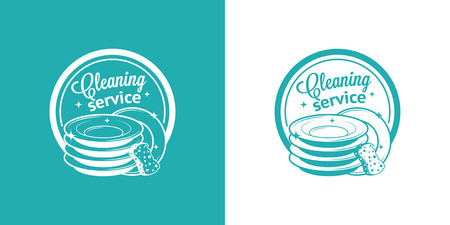 black dish: Cleaning Service Vector Vintage icons Illustration
