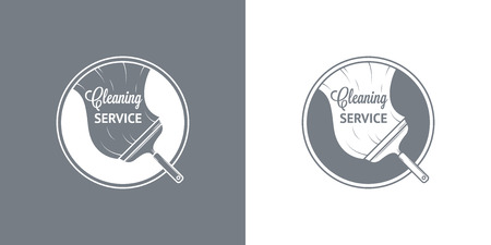 house cleaner: Cleaning Service Vector Vintage icons Illustration