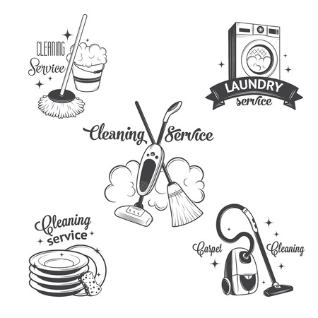 housekeeping: Set of vintage icons, labels and badges cleaning services