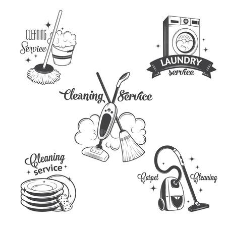 dienstverlening: Set van vintage pictogrammen, labels en badges schoonmaakdiensten