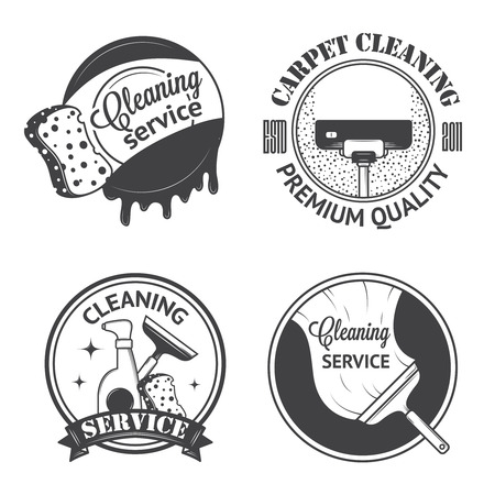 the maid: Set of vintage icons, labels and badges cleaning services