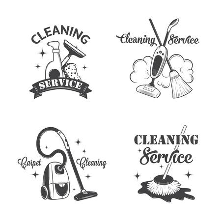limpieza del hogar: Conjunto de antiguos iconos, etiquetas y escudos servicios de limpieza