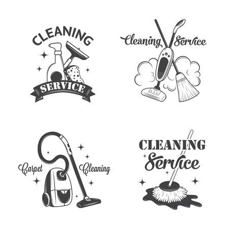 mops: Set of vintage icons, labels and badges cleaning services