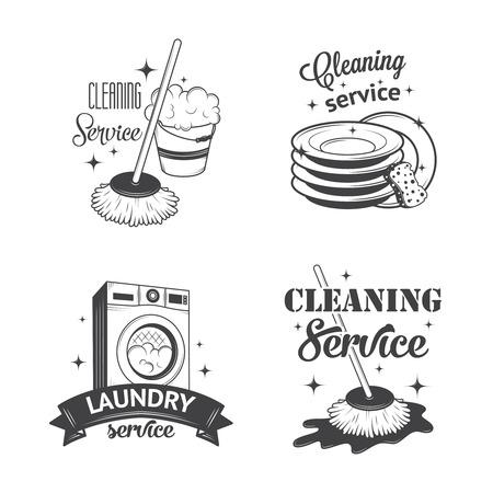 lavar trastes: Conjunto de antiguos iconos, etiquetas y escudos servicios de limpieza