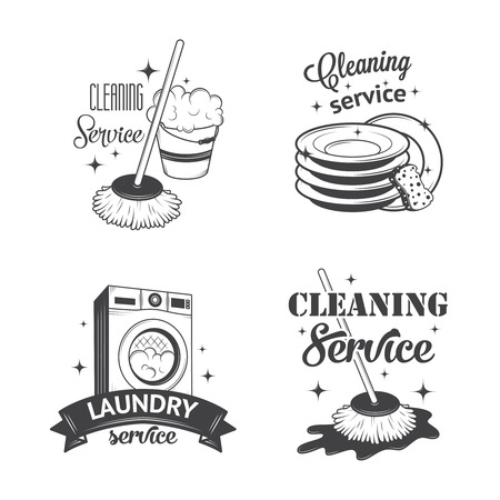 cleaning cloth: Set of vintage icons, labels and badges cleaning services