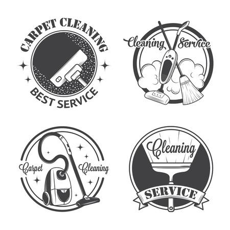 orden y limpieza: Conjunto de antiguos iconos, etiquetas y escudos servicios de limpieza