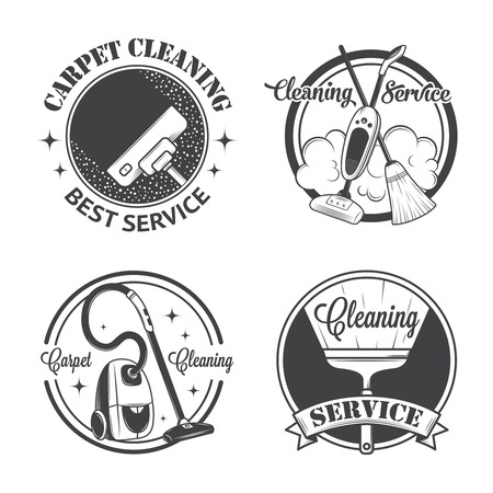 carpet clean: Set of vintage icons, labels and badges cleaning services