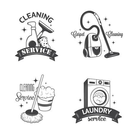 Set di epoca icone, etichette e contrassegni servizi di pulizia Vettoriali