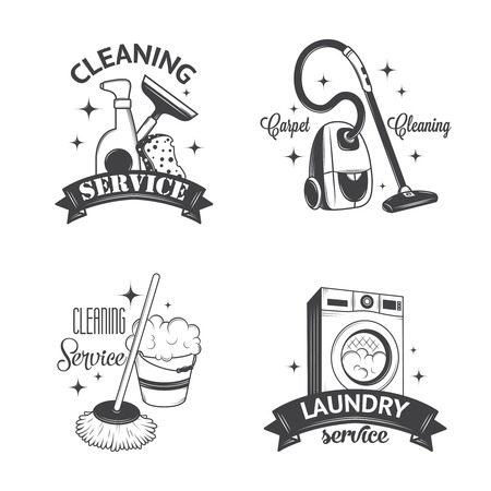 human icons: Set of vintage icons, labels and badges cleaning services
