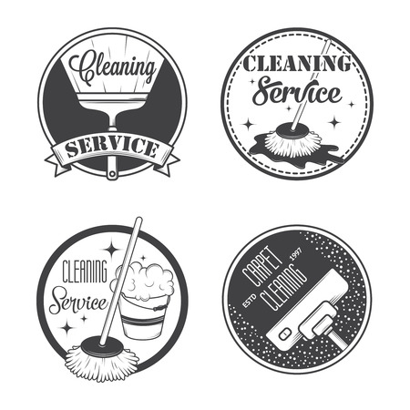 broom: Set of vintage icons, labels and badges cleaning services